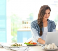 Beautiful girl on kitchen. Food blogger concept